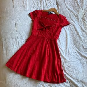 Red Tie Front Skater Dress